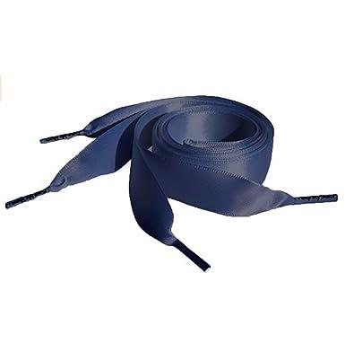 b2ca6e7178d703 Navy Flat Satin Ribbon Shoelaces