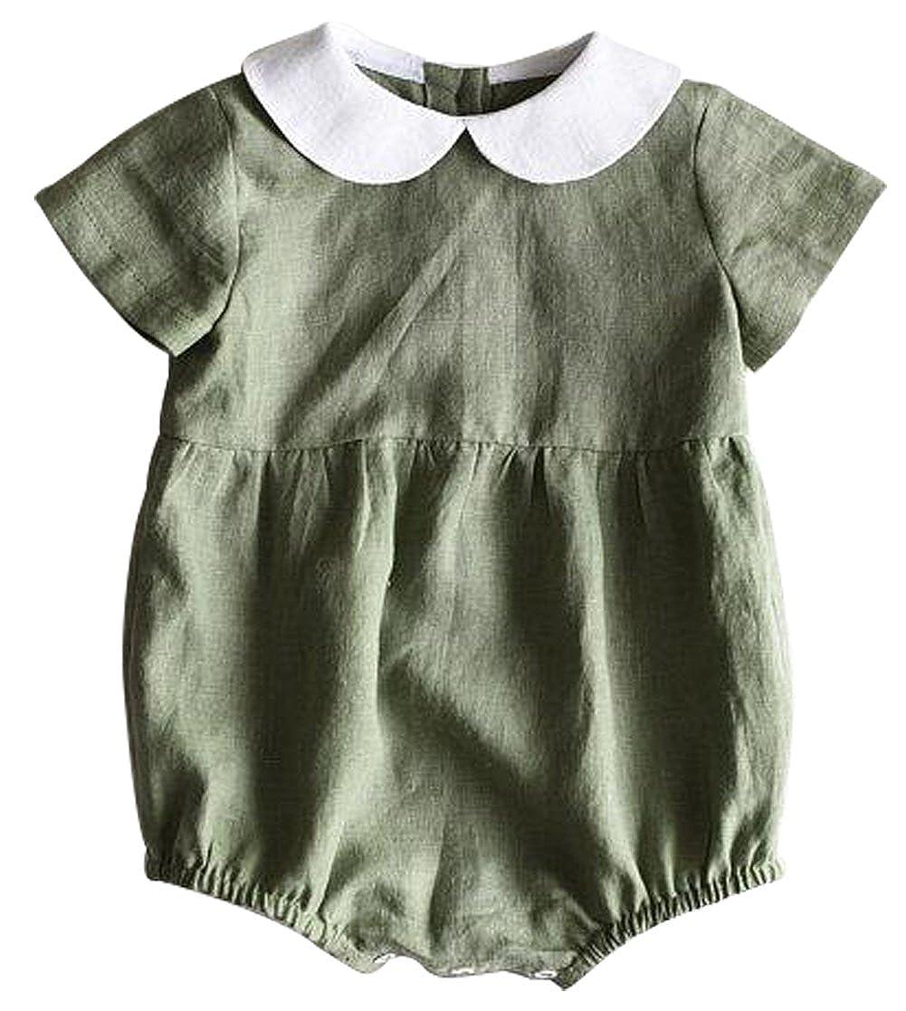 SUPEYA Infant Girls One-Piece Doll Collar Romper Short Sleeve Jumpsuit Bodysuit