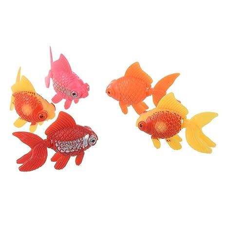 Pez de colores - SODIAL(R) 5pzs Peces de acuario de ornamento de plastico