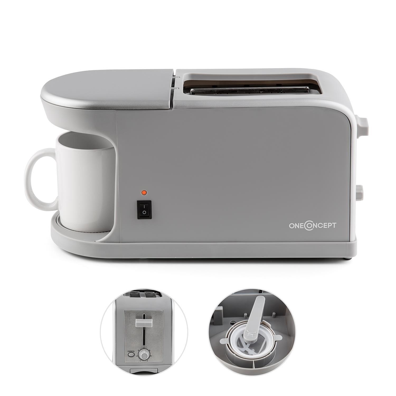 Oneconcept Quickie tostadora y minicafetera 2 en 1 (Potencia 900-1.050 W, máquina de café con Carcasa termoaislante, para 2 rebanadas de Pan, ...