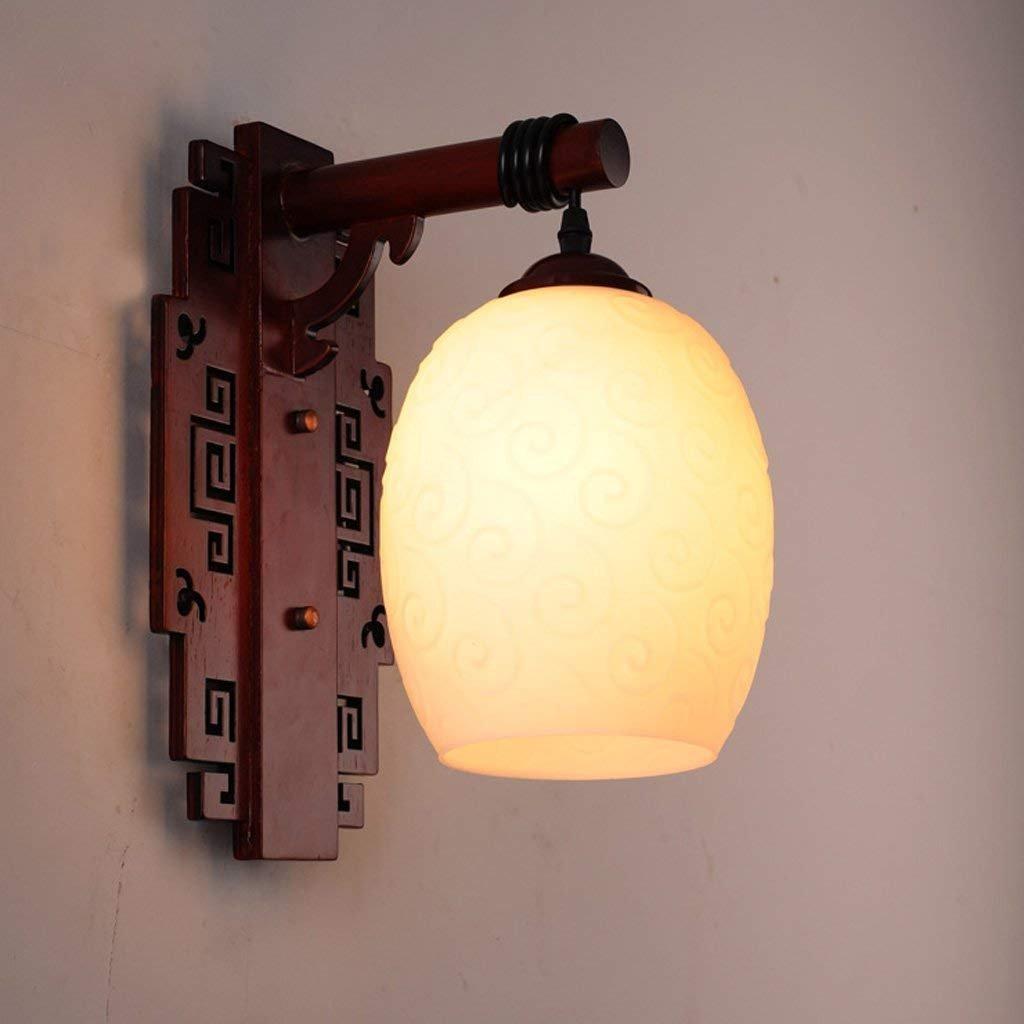 IG Retro Massivholz Geschnitzte Glaswandlampe Wohnzimmer Lampe Schlafzimmer Lampe Gang Straßenlaterne Treppen Lichter