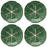 Bordallo Pinheiro Cabbage Green Dessert Plate, Set