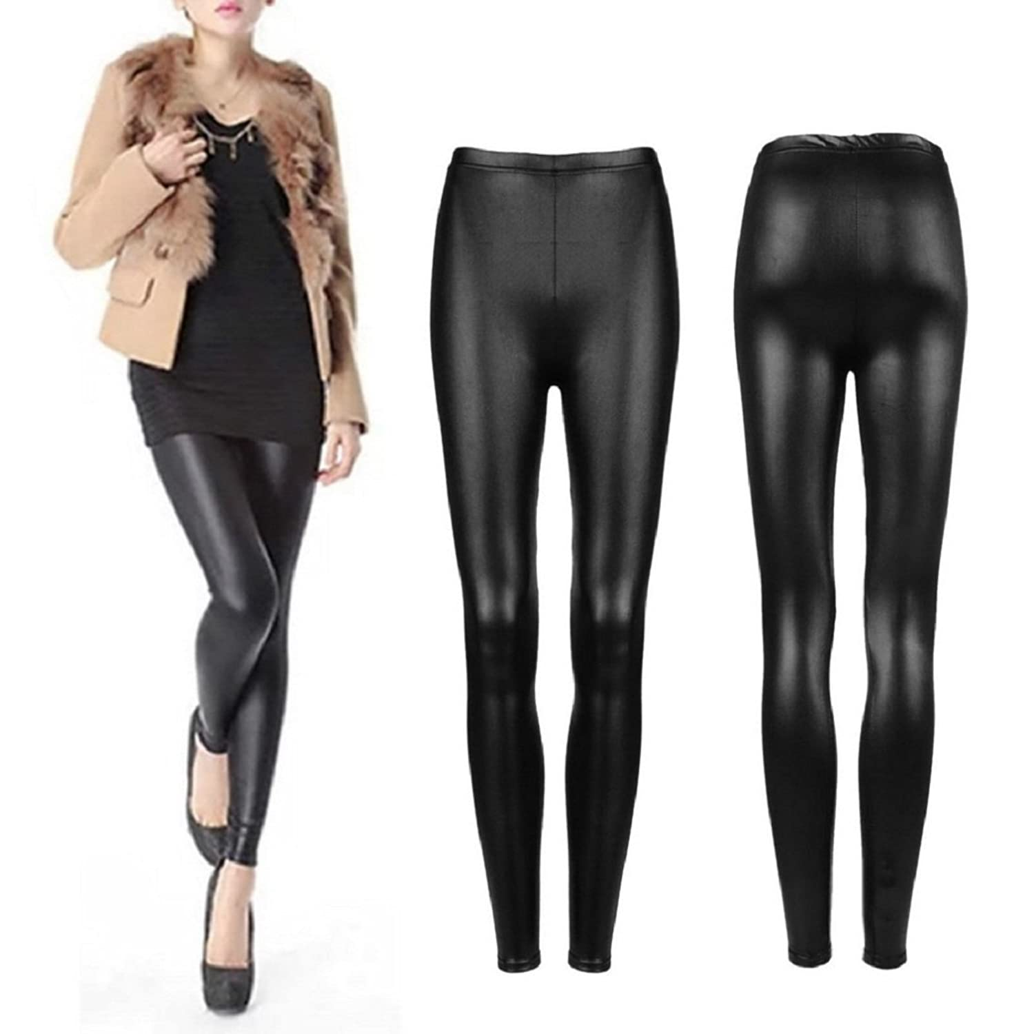 Timbre PU Leather leggings Mid Waist Faux Leather Coated Stretch Pants for Women