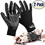 Pet Grooming Glove, Efficient Pet Hair Remover Brush for Bathing, Breathable Deshedding Massage Mitt with Enhanced Five Finger Design - Perfect for Cats Dogs & Horses with Long and Short Fur - 1 Pair