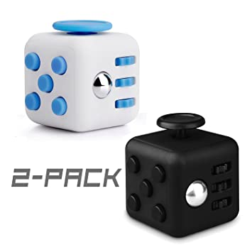 Fidget Cube ToysBlack And Blue Mini Relieves Stress Anxiety Attention Toy For