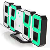 Lily's Home Minimalist LED Clock with 3 Adjustable Brightness Levels and AC/DC Power Adapter - Digital LED Desk Clock   Wall Clock   Alarm Clock - Green