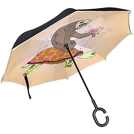 Merle House Paraguas invertido de Doble Capa con manija en Forma ...