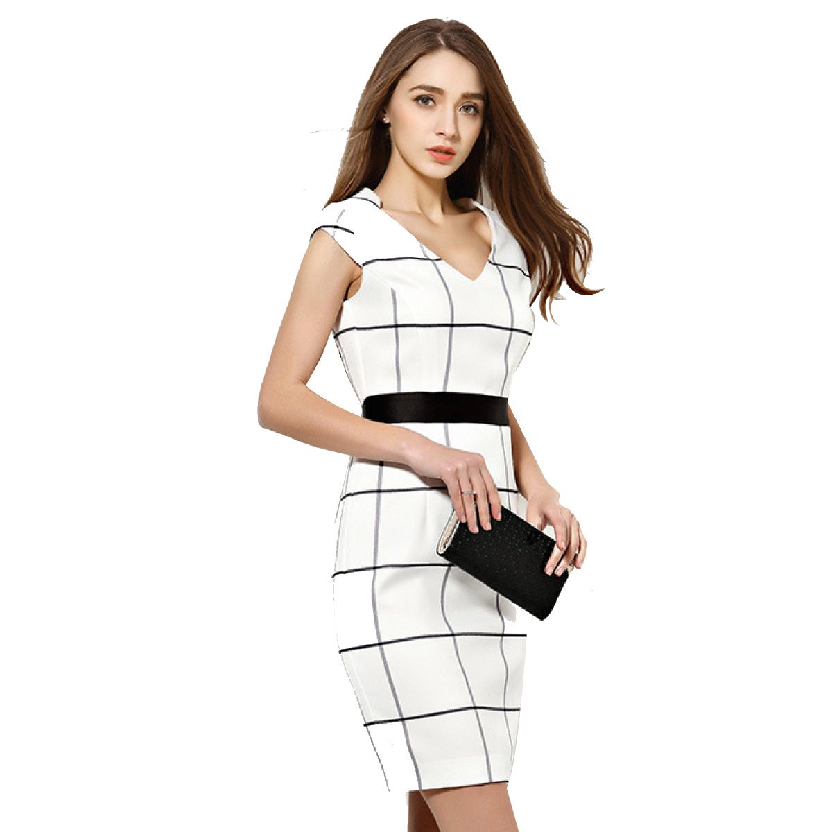 China Palaeowind Women 's Spring And Summer Fashion Simple Checked Waist Dress,White-L