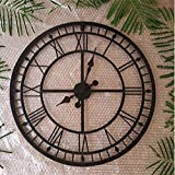 European and American styleEuropean, Roman numerals, large wall clock, American-style retro, metal wrought iron frame, do the old hollow, clock, A section, diameter 56CM