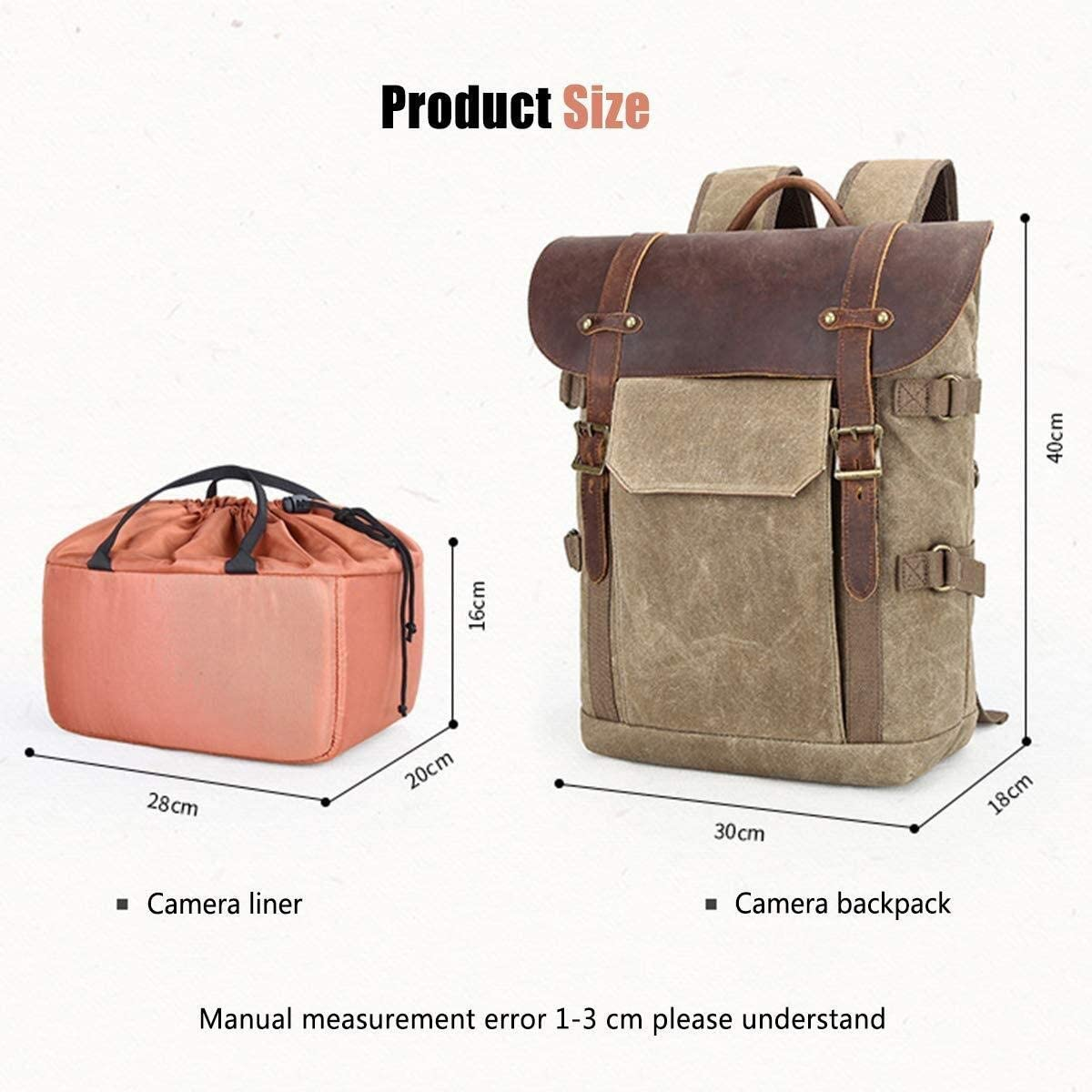 Mihaojianbing Digital SLR Camera Backpack Photo Leisure Travel Bag Batik Canvas Camera Backpack Laptop Tripod Lens //30 X 18 X 40 cm Military Green Pratical
