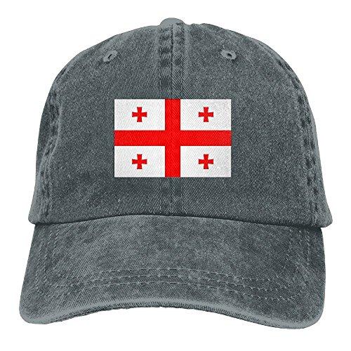 Georgia FlagWashedBaseball Cap Adult Unisex Adjustable Hat by LETI LISW