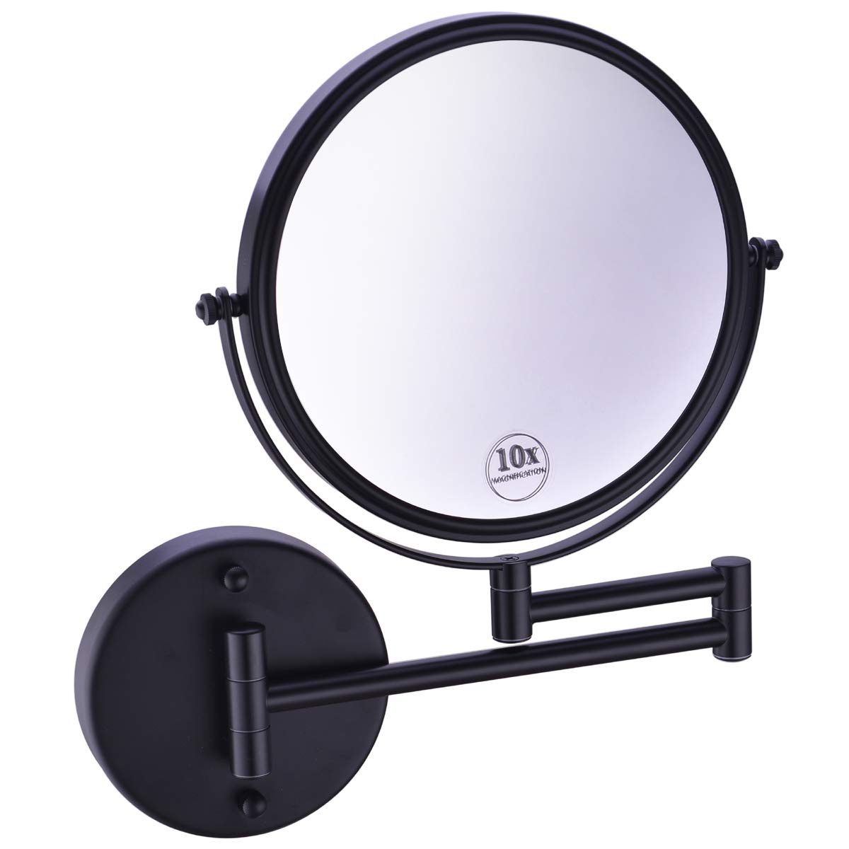 Anpean Wall Mounted Makeup Mirror 10x Magnification with 8 Inch Double Sided Swivel, Matte Black