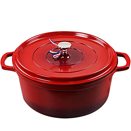 Cookware Cast Iron Aluminum Dutch Oven with Lid, Non Stick Round Casserole Dish, Lightweight,Moving it around easy,For all Heat Source Induction cooker,Quick heating,Oven safe up to 450 F, 4.2 Quart Pot