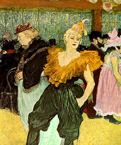 AT THE MOULIN ROUGE THE CLOWNESSE CHA-U-KAO WOMAN CLOWN COSTUME PARIS 1895 PAINTING BY TOULOUSE LAUTREC 16