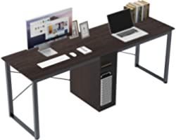 Soges 2-Person Home Office Desk,78inches Large Double Workstation Desk,Writing Desk with Storage, Black HZ011-200-BK-CA