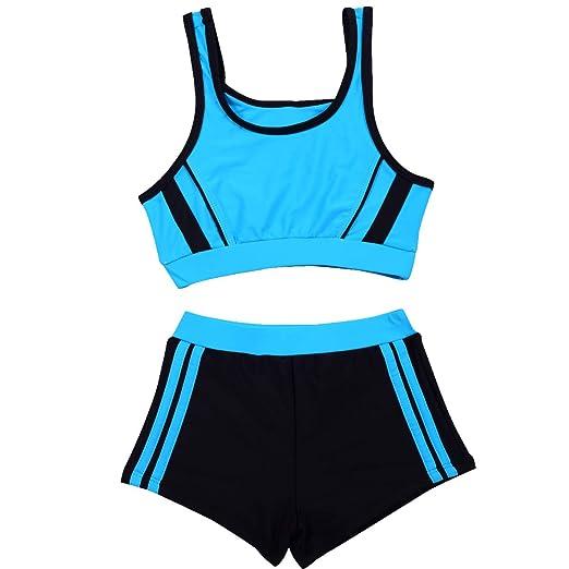 030769e6fc310 SherryDC Little Girls Two Pieces Sporty Tankini Bikini Swimwear Bathing Suit  with Shorts Blue