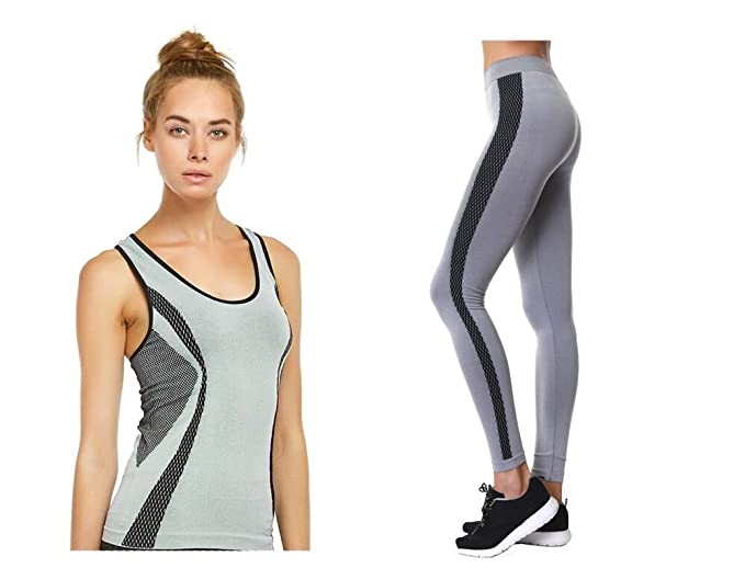 782808610b10c Sofra EZ 2 Save Ladies Legging and Tank Set (Grey/Black) at Amazon Women's  Clothing store: