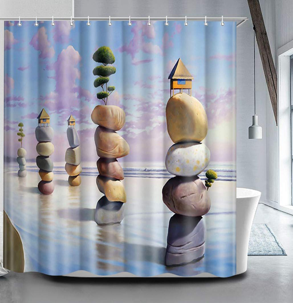 True Holiday Shower Curtain Fabric Polyester Waterproof Mildew Resistant Antibacterial Shower Curtain Liner with 12 Curtain Hooks 180cm*180cm