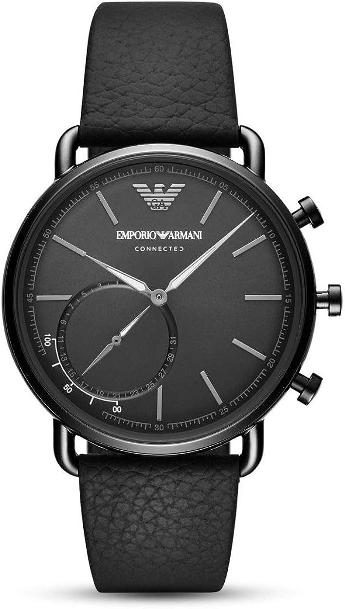 Emporio Armani Smartwatch Híbrido para Hombre de Connected con Correa en Piel