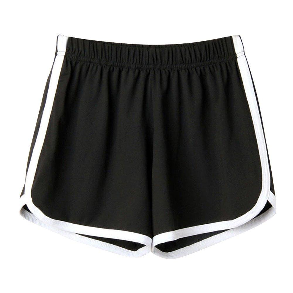 Women Sport Yoga Pants,Jchen(TM) Ladies Teen Girl Summer Solid Color Striped Beach Sport Running Gym Shorts Pants (S, Black)