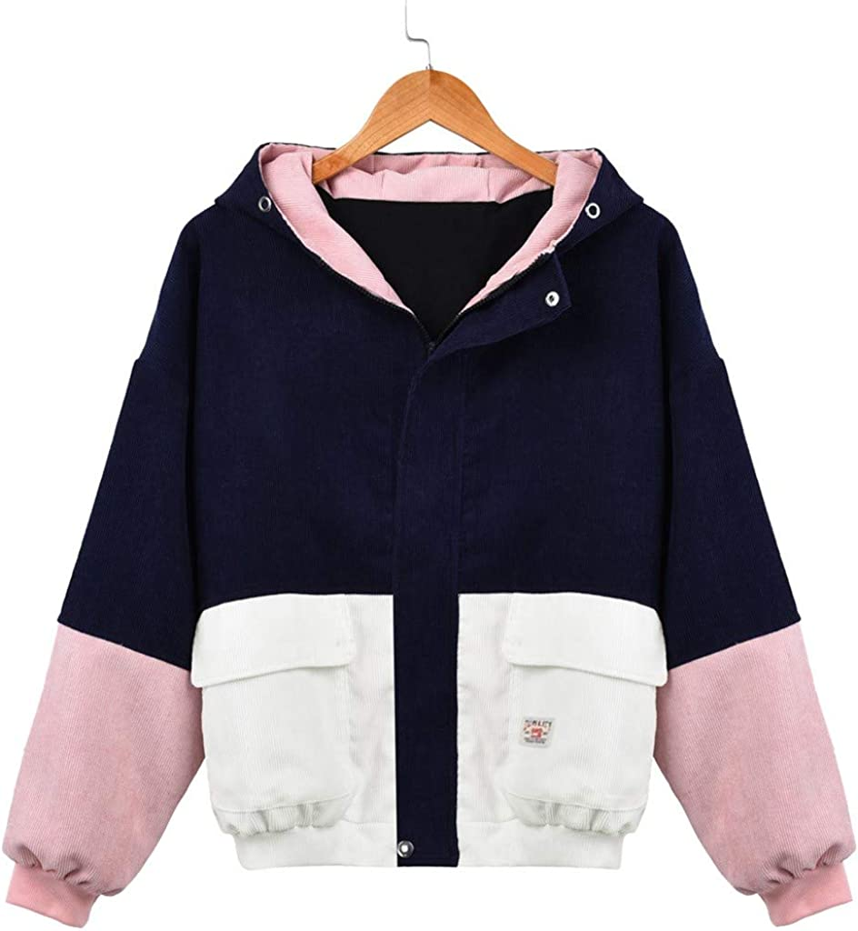 COOKI Womens Jacket Coat Casual Winter Solid Long Sleeve Jacket Corduroy Patchwork Oversized Windbreaker Coat Overcoat