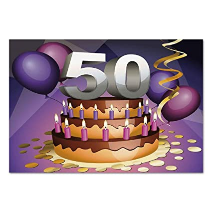 Large Wall Mural Sticker 50th Birthday DecorationsCreamy Cake With Many Candles And Numbers