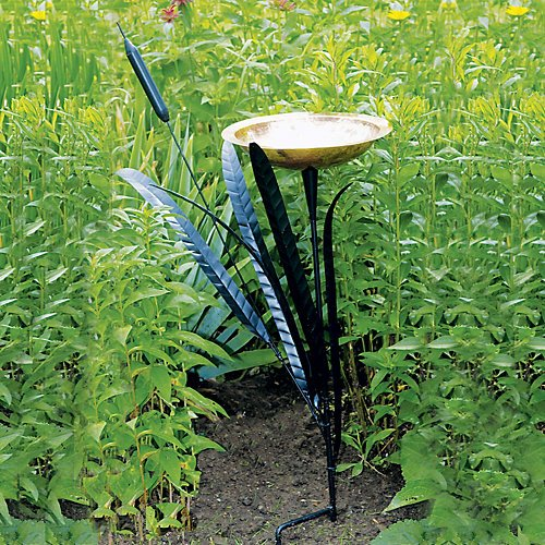 Achla Designs Cattail Birdbath with Single Copper Bowl