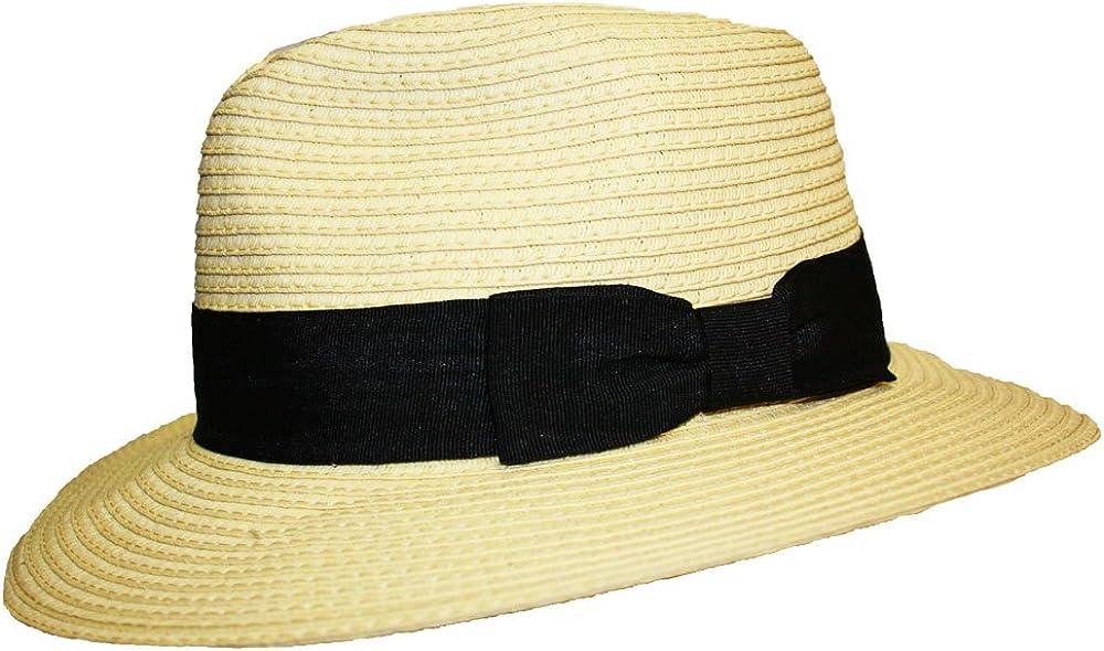 DierCosy Frauen-Strand-Hut-Sommer-Strohhut Sonnenschutz-Fedora-Hut-Kranz Straw Cap F/ür M/ädchen Creme Gef/ärbte