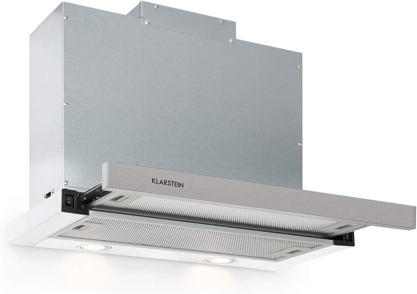 Klarstein Mariana 60 Extractor de humos plano - 60 cm, clase C, 500 m³/h, extracción y ventilación, luces LED, botones, bajo mueble, blanco