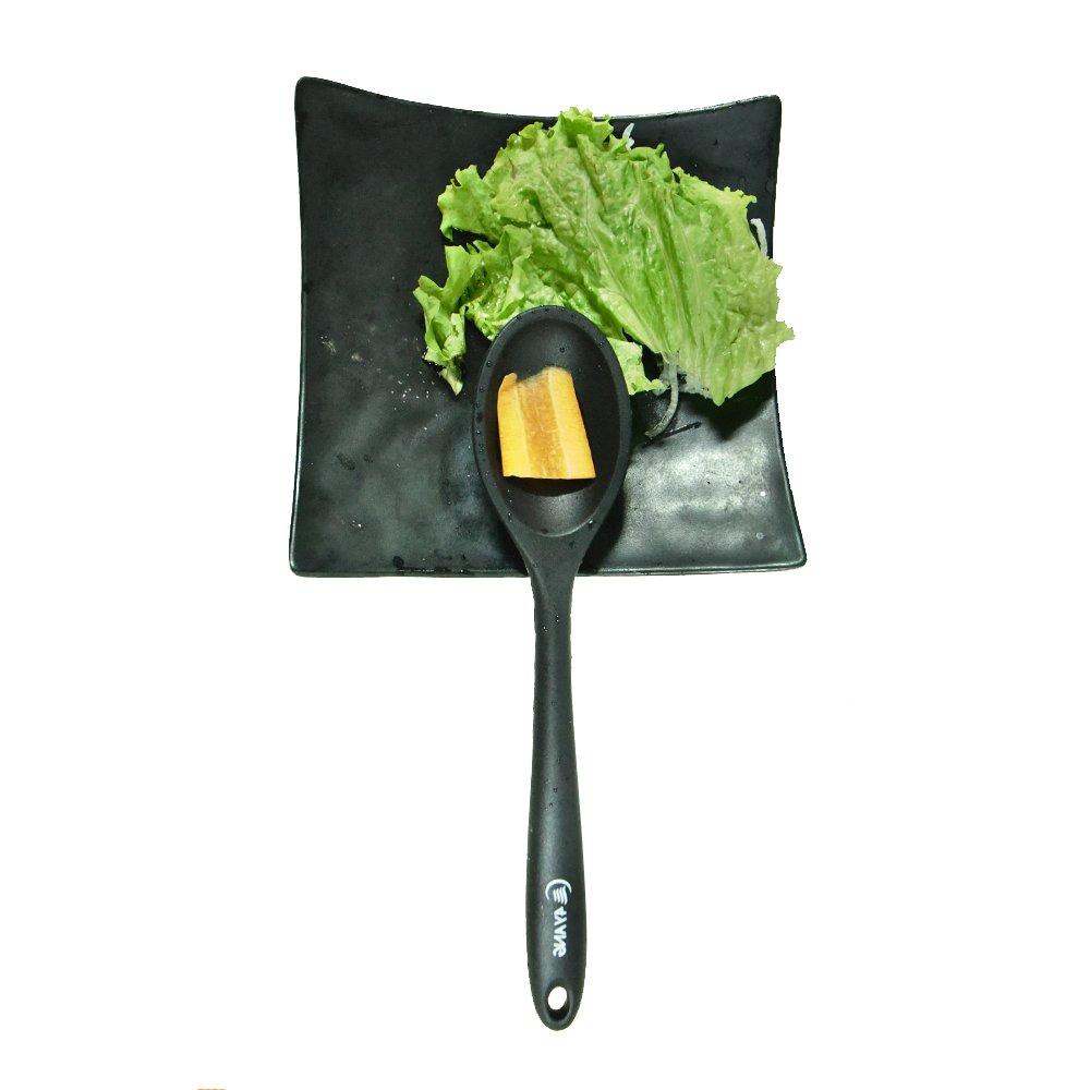 -Includes:Turner Slotted spoon Spatula /& Basting brush Spoonula Spoon Spatula Spoon Ladle Schwarz Energieklasse A++ TOPQSC Heat Resistant Silicone Cooking Utensil Set 8 Pieces