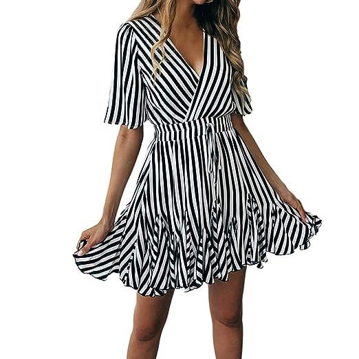 2fedefb5f0 Nihewoo Women s Sexy Deep V Neck Dress Short Sleeve Striped Wrap Ruffle Hem  Pleated Dress with