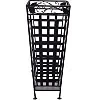 storeindya Thanksgiving Gifts Metal Umbrella Stand Canes Walking Stick Holder Storage Rack in Black Cage Design Furniture 13 x 13 x 28.5 Inches