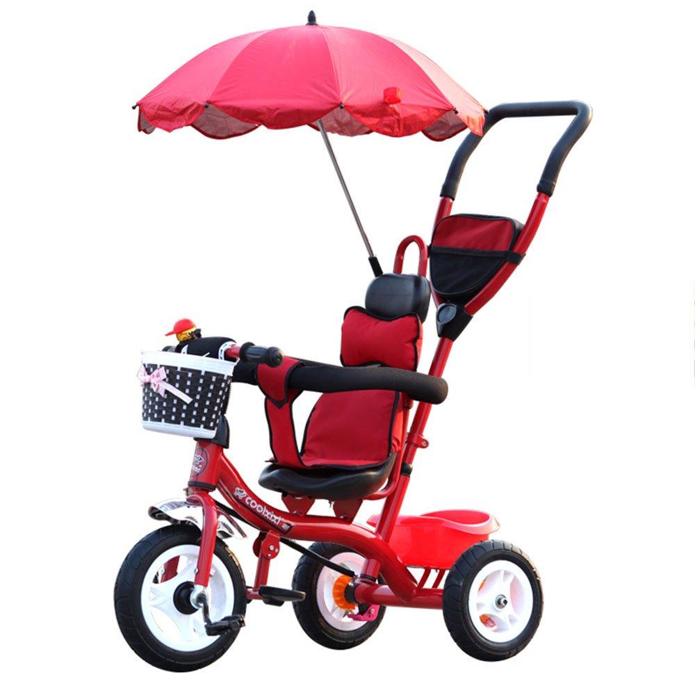 HAIZHEN マウンテンバイク 赤ちゃんの子供の自転車子供の三輪車のカート赤ちゃんのキャリッジ子供の自転車3ホイール、(ボーイ/ガール、1-3-5歳)子供の贈り物 新生児 B07CG22CYY 赤 赤