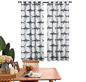 Curtain Hanging Vertically Sharks Swimming Horizontal Silhouettes Powerful Dangerous Wild Life,Window Curtains Apartment Decoration W55 x L39