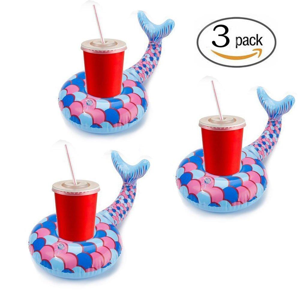 (Mermaid) - Mermaid Drink Floaties Holder, Float your drinks in style, Inflatable Coasters Cup Drink Holder, 3 Pack  マーメイド B07C92BQ3S