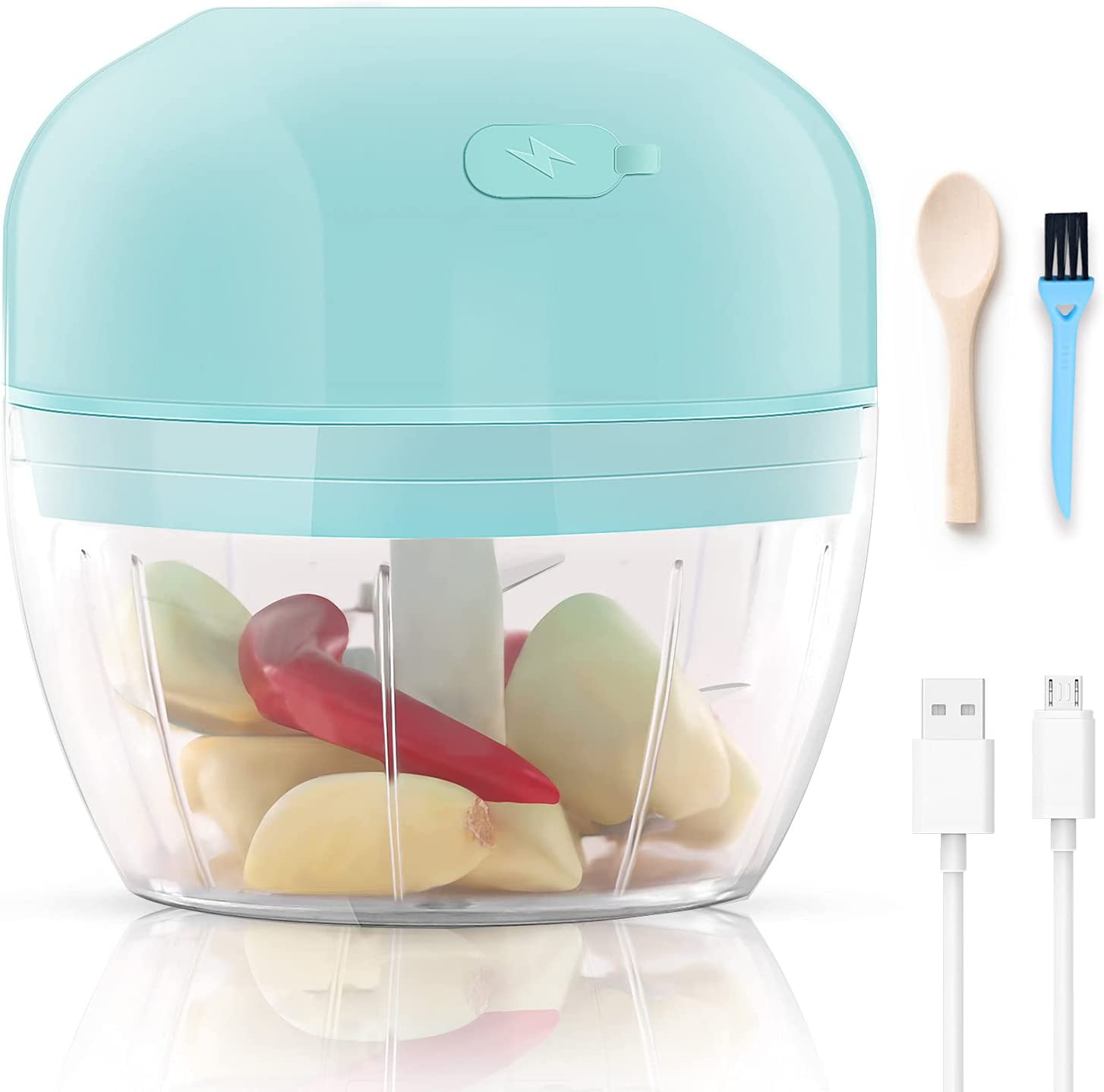 Mini Garlic Chopper, Electric Mincer, Food Dicers, Food Slicer Crusher, Wireless, Rechargeable & Portable for Garlic/Chili/Vegetables/Onions/Nuts/Pepper/Ginger Gift for Mom