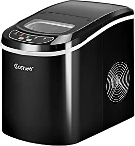 COSTWAY Ice Maker, Countertop Ice Machine Portable Compact Electric High Efficiency Express Ice Making Machine Mini Cube 26lb of Ice per 24 hours with Ice Scoop, Black(26LBS/24H)