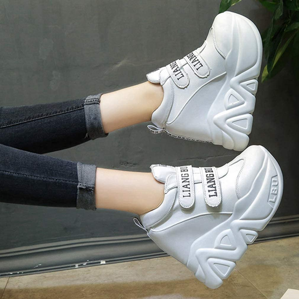 Women Casual High Top Hidden Heel Wedges Platform Shoes Fashion PU Leather Sneakers White