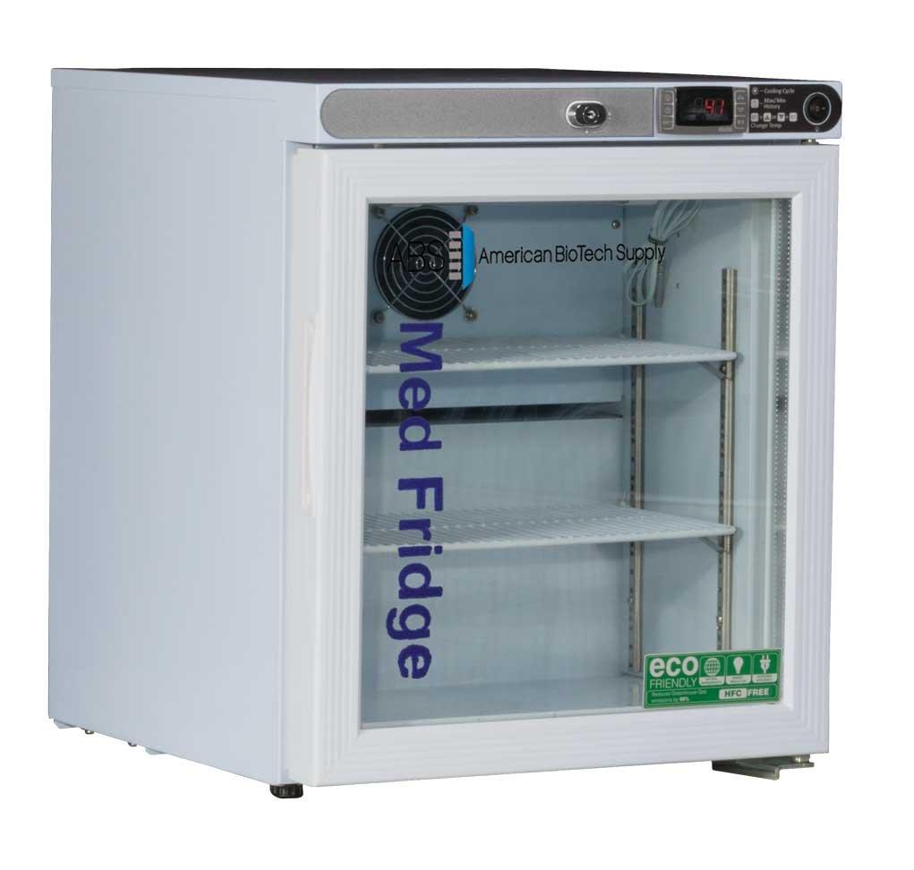 American BioTech Supply PH-ABT-HC-UCFS-0104G Premier Pharmacy/Vaccine Undercounter Refrigerator, Freestanding, Glass Door, 1 cu. ft. Capacity, White