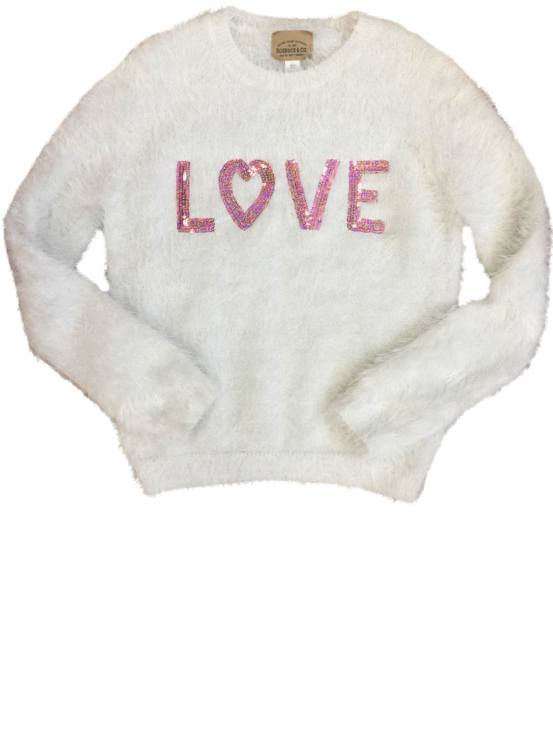 Roebuck & Co Girls White Fuzzy & Sequin Love Long Sleeve Pullover Sparkly Sweater Medium