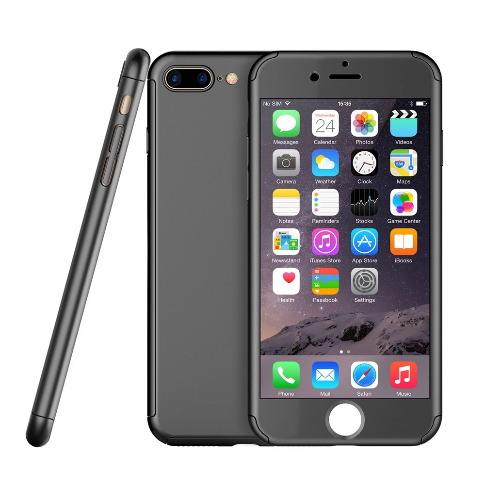 iphone 7 Plus Case,Egrace Full Body Coverage Protection Case, Ultra Thin Hybrid Case Cover with Tempered Glass Screen Protector for iphone 7 Plus (5.5 inch) (Black)