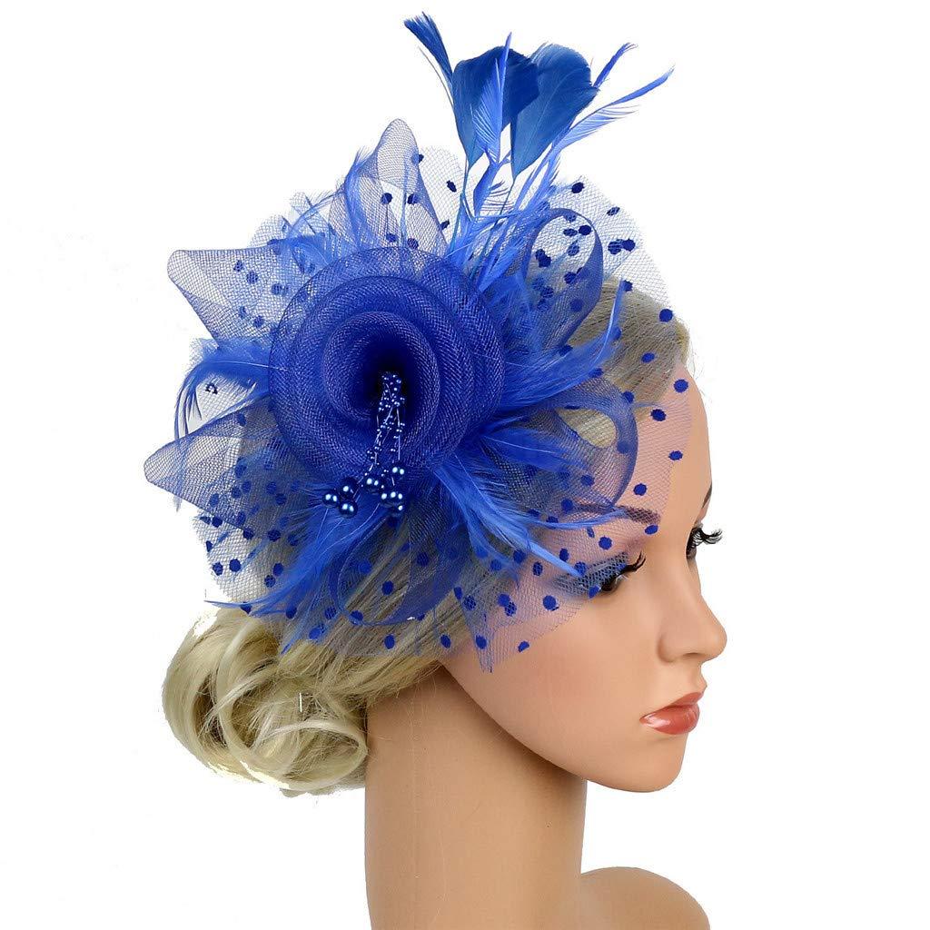QIGUANDZ Fascinators Hat,Flower Mesh Ribbons Feathers Headband,Derby Wedding Tea Party Fascinator