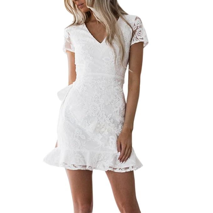 Vestidos Encaje Blanco Con Volantes Mujer LHWY, Vestidos Huecos De Cuello En V Manga Corto