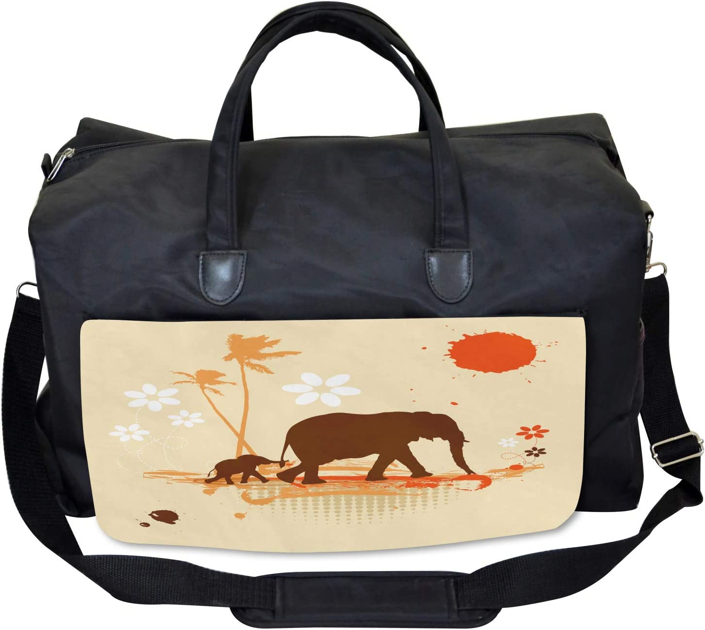 Large Weekender Carry-on Safari Tropical Lands Ambesonne Elephant Gym Bag