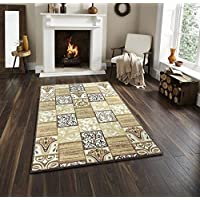 Lexington Home Brown Floral Tile Design Non-Slip Area Rug 4 x 6 Featuring Easy-Care Low Pile Top, Non-Skid Rubber Backing