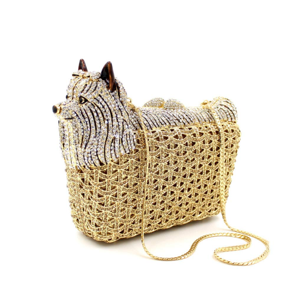Puppy Evening Bag Luxury Diamond Crystal Clutch Bling Dazzling Purse Party Date Handbag Special Wallet