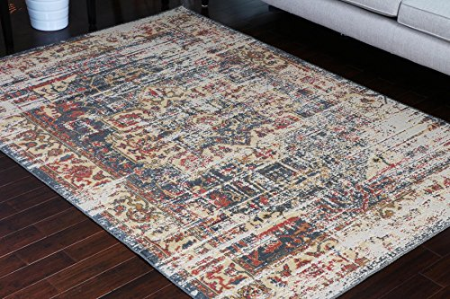 - RUSTIC Collection Antique Style Wool Exposed Cotton and Jute Oriental Carpet Area Rug Rugs Charcol Rust Beige 7002 Black 5x7 6x8 5'2x7'4