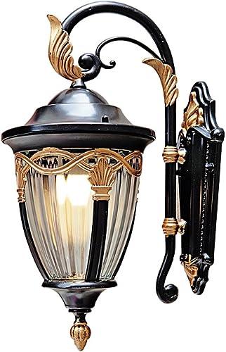 Vampsky American Vintage Brass Glass Outdoor Wall Lamp Continental LED Villa Garden Patio Terrace Balcony Waterproof Wall Light E27 Decoration Lighting Fixture