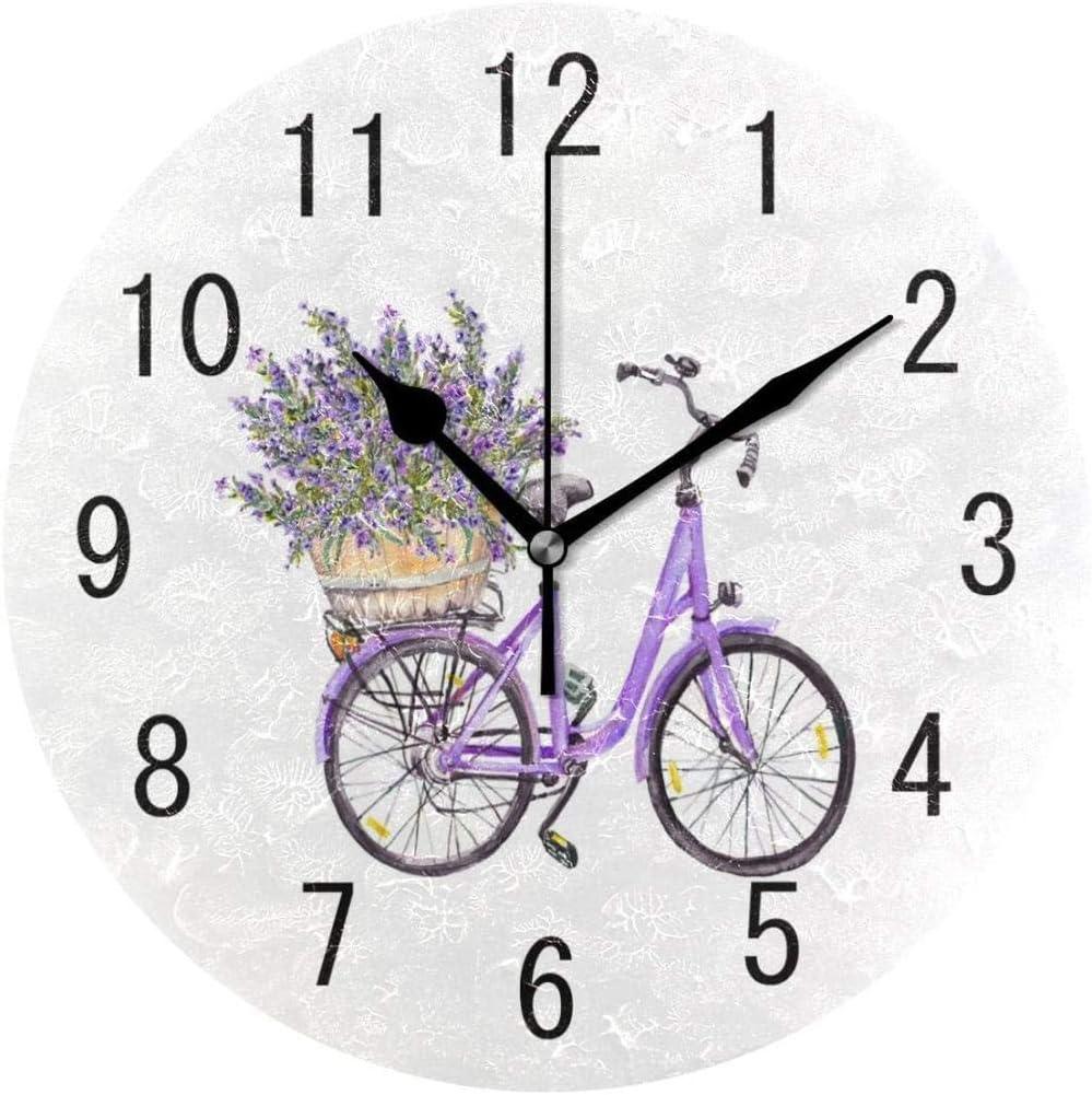 Reloj De Pared Bicicleta Con Flor De Lavanda Reloj De Pared De Acuarela Sala De Estar Silencioso Reloj De Pared Redondo Arte Dormitorio Cocina Colorido Hotel Clásico Escuela Duradera Decoración Del Ho