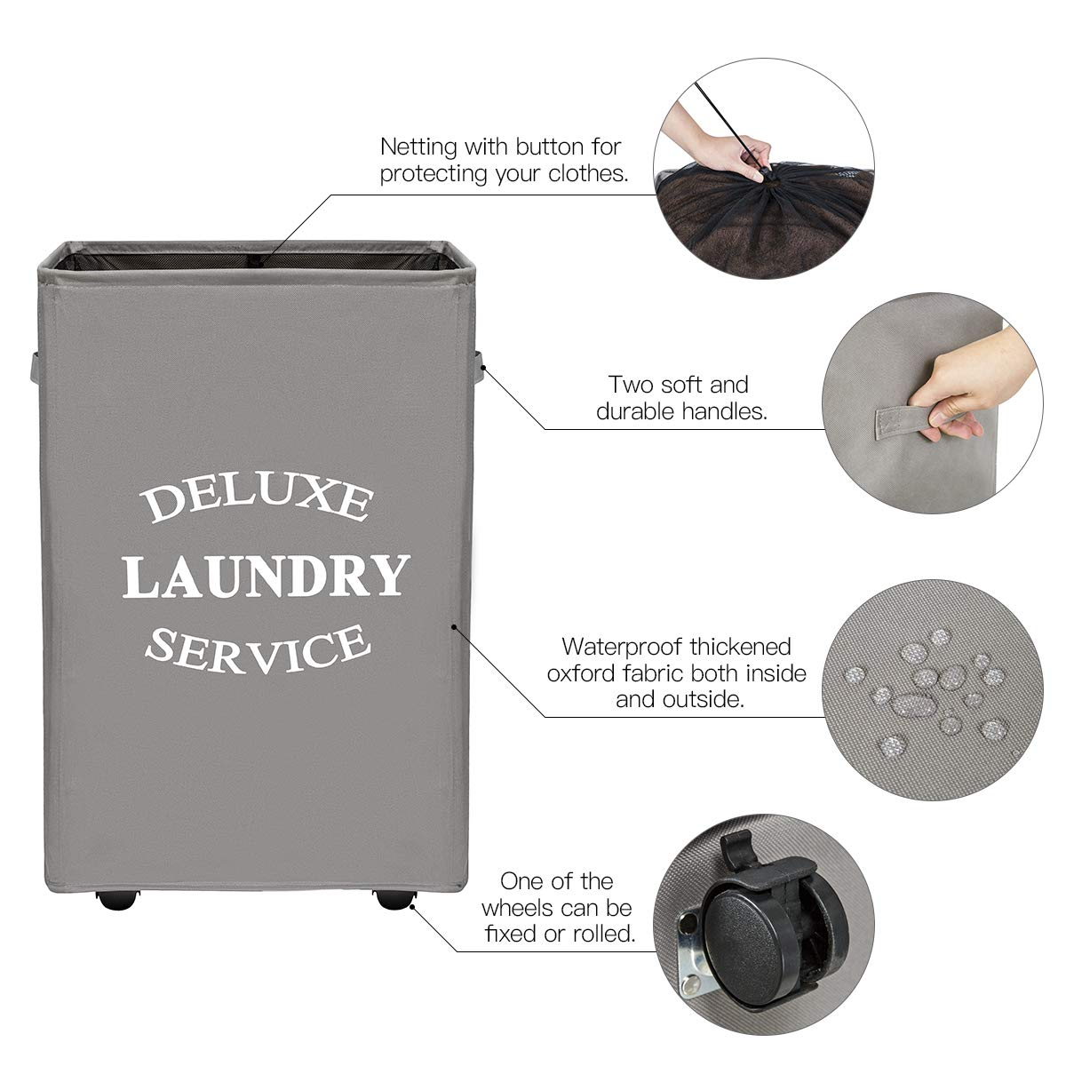 WISHPOOL Rolling Laundry Basket with Wheels Laundry Hamper for Laundry Large Rectangular Collapsible Clothes Hamper Mesh Cover Storage Bin (Grey)